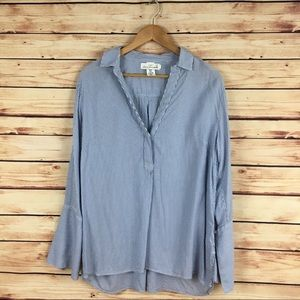 H&M Pinstriped Tunic Top Bell Sleeve Blue White 14